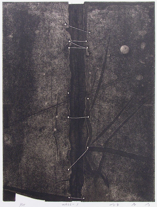 takahikohayashi:  WALL-128x36.5cmcopperplate print with chine collé(etching)林孝彦 HAYASHI Takahiko 1982