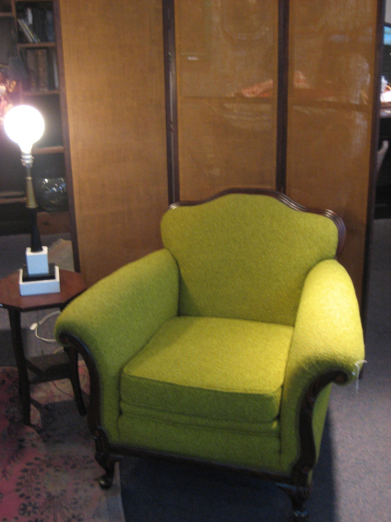 This chartreuse armchair is highly enjoyable.