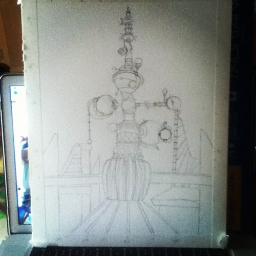 Progress. #astroorbitor #tomorrowland #disney #disneyland #art #drawing #sketch #mine (Taken with Instagram)