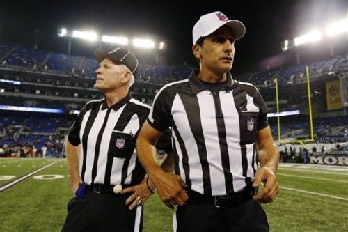 nfloffseason:  Guess who's bizack. The official officials are back for Thursday Night Football in Baltimore.  Finally. REAL refs