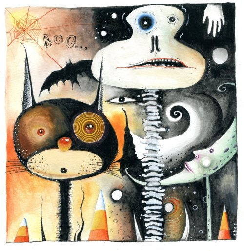 cat and his halloween buddies, gouache bone a day inkhead original and prints (soon) available on Etsy (eyefun)