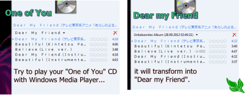 "Can you do the same magic trick I can do?? If you've got both CDs ""Dear my Friend"" and ""One of You"" insert both CDs (one after another, not both at once!! XP) into you PC/Laptop… then try to play them with you Windows Media Player (if you have… don't know if this works with another player) and watch the miracle! If this doesn't happen to you, then I'm the only one that was trolled ehehe [cha]"