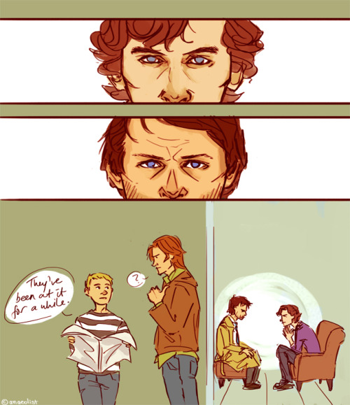 anaeolist:  Sherlock's trying to figure a reason for Castiel's not-quite-rightness. Cas thinks this is a weird getting-to-know-you custom and is staying as still as possible.