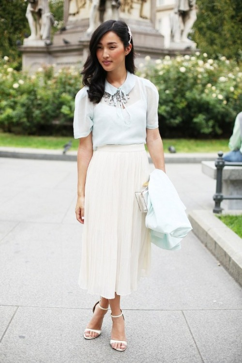 Pretty pastels. Get the look with an Asos sheer top, white flowy skirt, and crystal necklace.