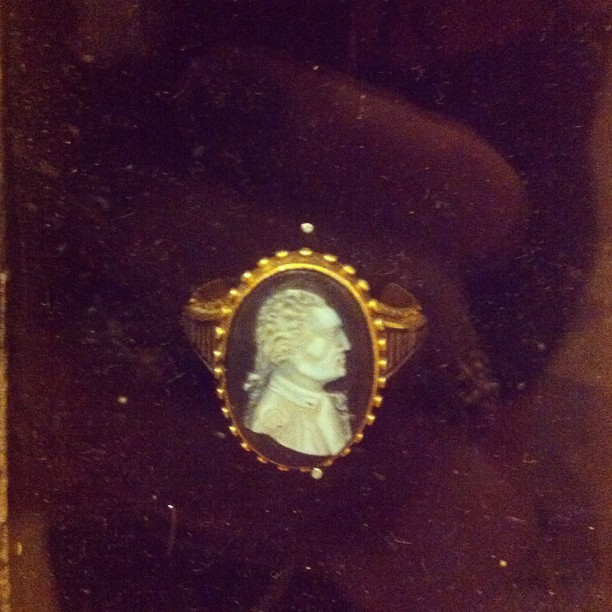 Martha Washington's mourning ring that she wore after GW's death. (!!!??)  (Taken with Instagram)