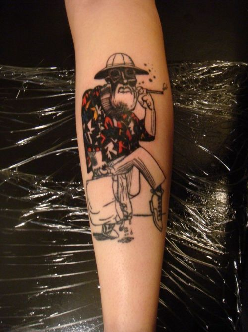 A ralph Steadman painting of Hunter S. Thompson on my leg. Done by Mark Alive in Denver Colorado. https://www.facebook.com/markalivetattoos?ref=ts link to his facebook page.