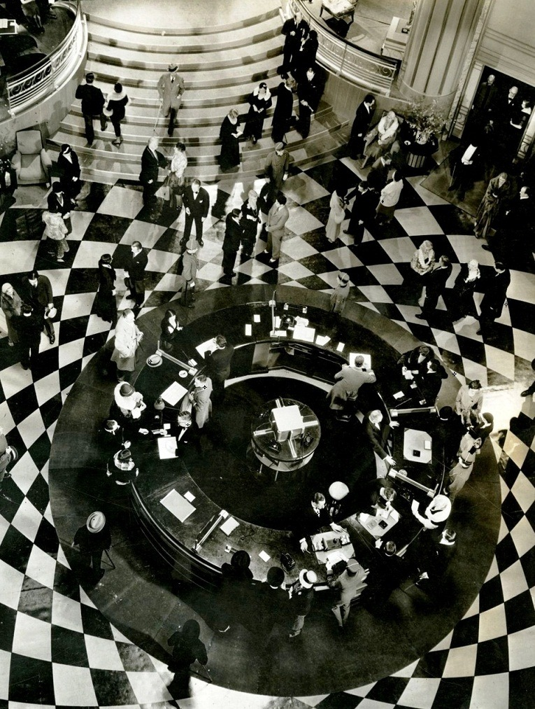 Art deco lobby set for Grand Hotel (1932, dir. Edmund Goulding) Set design by Cedric Gibbons.