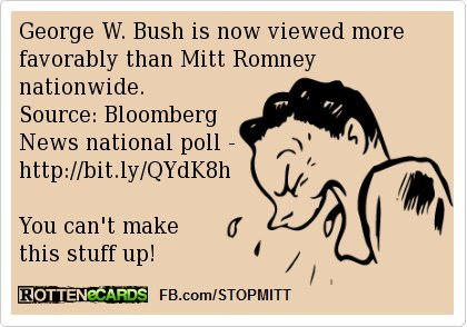 I never thought I'd see the day that would happen. When ROMNEY is viewed less favorably than even Dumbya, something's wrong with you. http://media.bloomberg.com/bb/avfile/rhMzOK9Gexhs