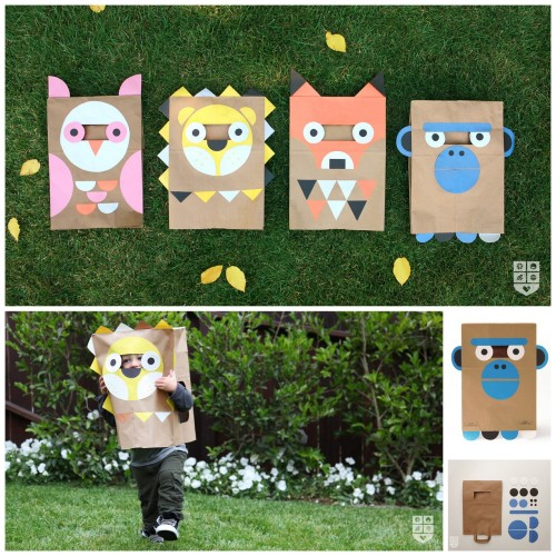 rainbowsandunicornscrafts:  DIY Halloween Paper Bag Animal Costumes with Templates from Wee Society here. You could fold up the bag and put it in a knapsack for Halloween parades. First seen at Handmade Charlotte here.