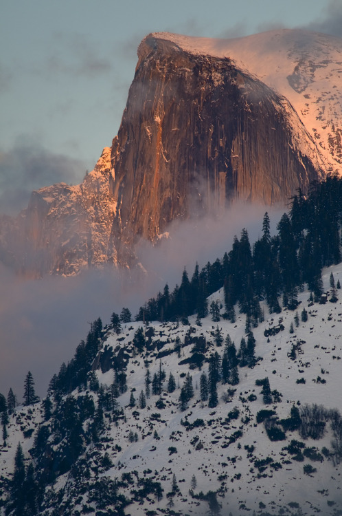 Winter sunset on Half Dome, Yosemite, California