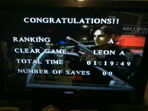 fuckyeahresidentevil:  clbgamer22:  My new personal best for PSX NSTC Leon A New Game, time to get serious now!   AWESOME!   Thanks I still got a way to go with Claire A for a while Leon A running mania!