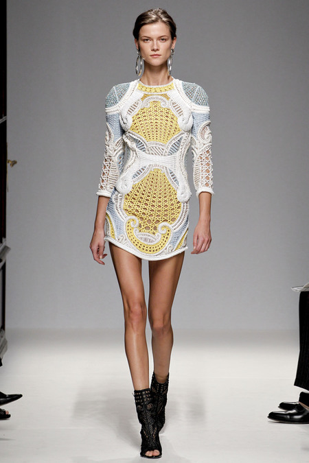 Finally Paris - Look number 8 from the s/s '13 Balmain fashion show. Great use of crochet.