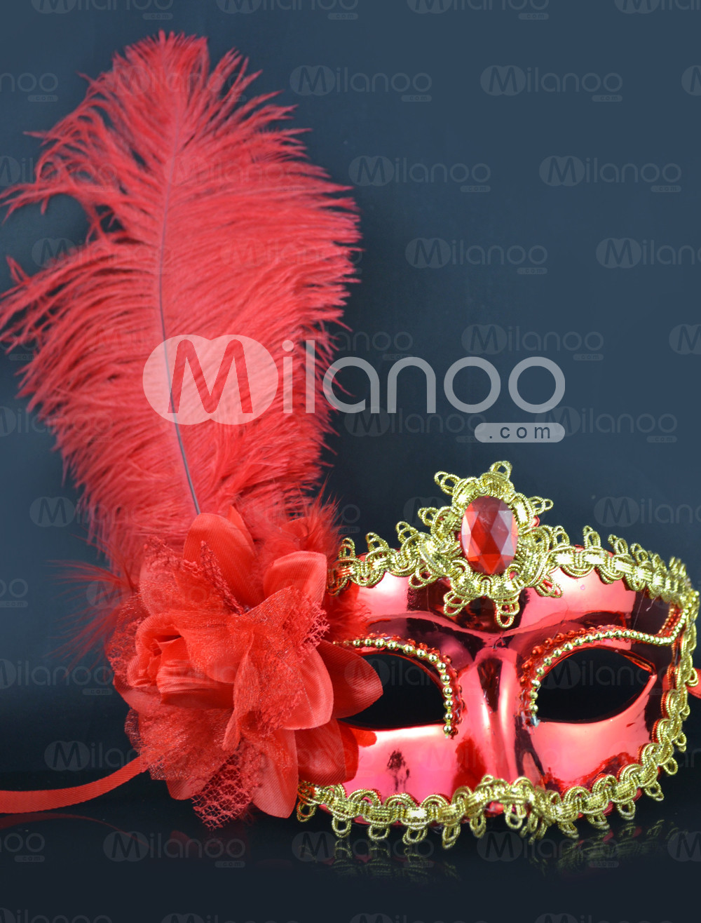 Red Flower Feather Plastic Mask