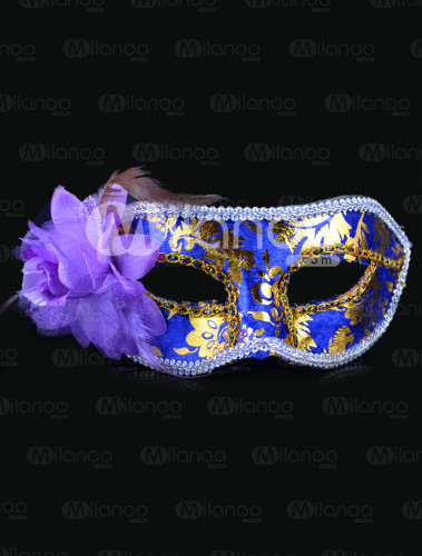 Blue Side Flower Plastic Party Mask