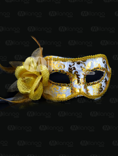 Yellow Side Flower Plastic Party Mask