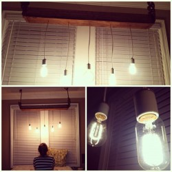 reclaimed wood with mix match Edison bulbs makes this chandelier rad. #diy  (Taken with Instagram)
