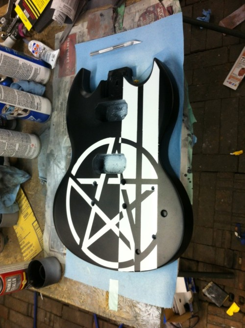 Winchester SG. Almost done. (this one is Sam. Dean's an electro-acoustic. pictures to come)