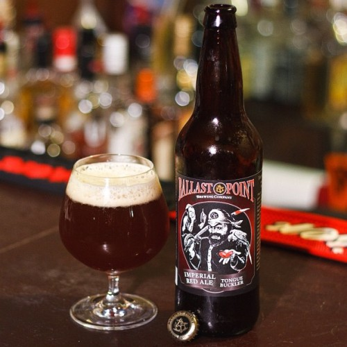 "bobbycaputo:  Drinking some Ballast Point ""Tongue buckler"" Imperial Red Ale. 10% ABV. Things may get a little crazy.   Come on is this going to be the new ""food picture"" obsession?  Or have I been missing this (thankfully)?  The bottle cap placement?  Com'on!   …ok I've had the BP red and yeah it's good…. good luck with the eve…"