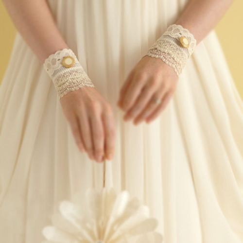 Lace Cuff Wedding Accessory Instead of jewels and baubles, accessorize your wedding dress with these Victorian-style lace cuffs