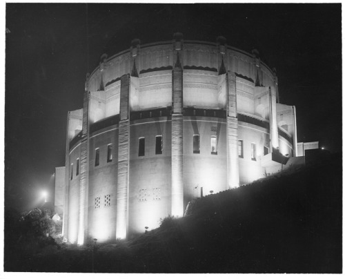 The Griffith Observatory at night, 1935.