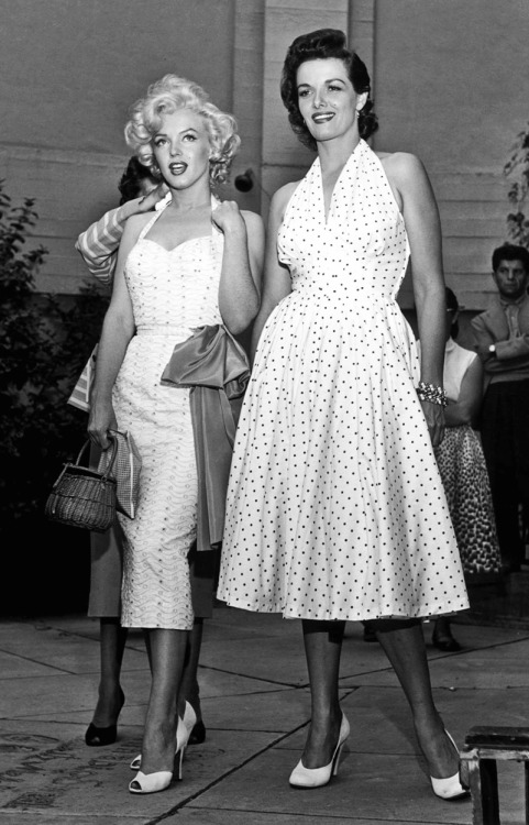 vintagegal:  Marilyn Monroe and Jane Russell at Grauman's Chinese Theatre in Hollywood, 1953