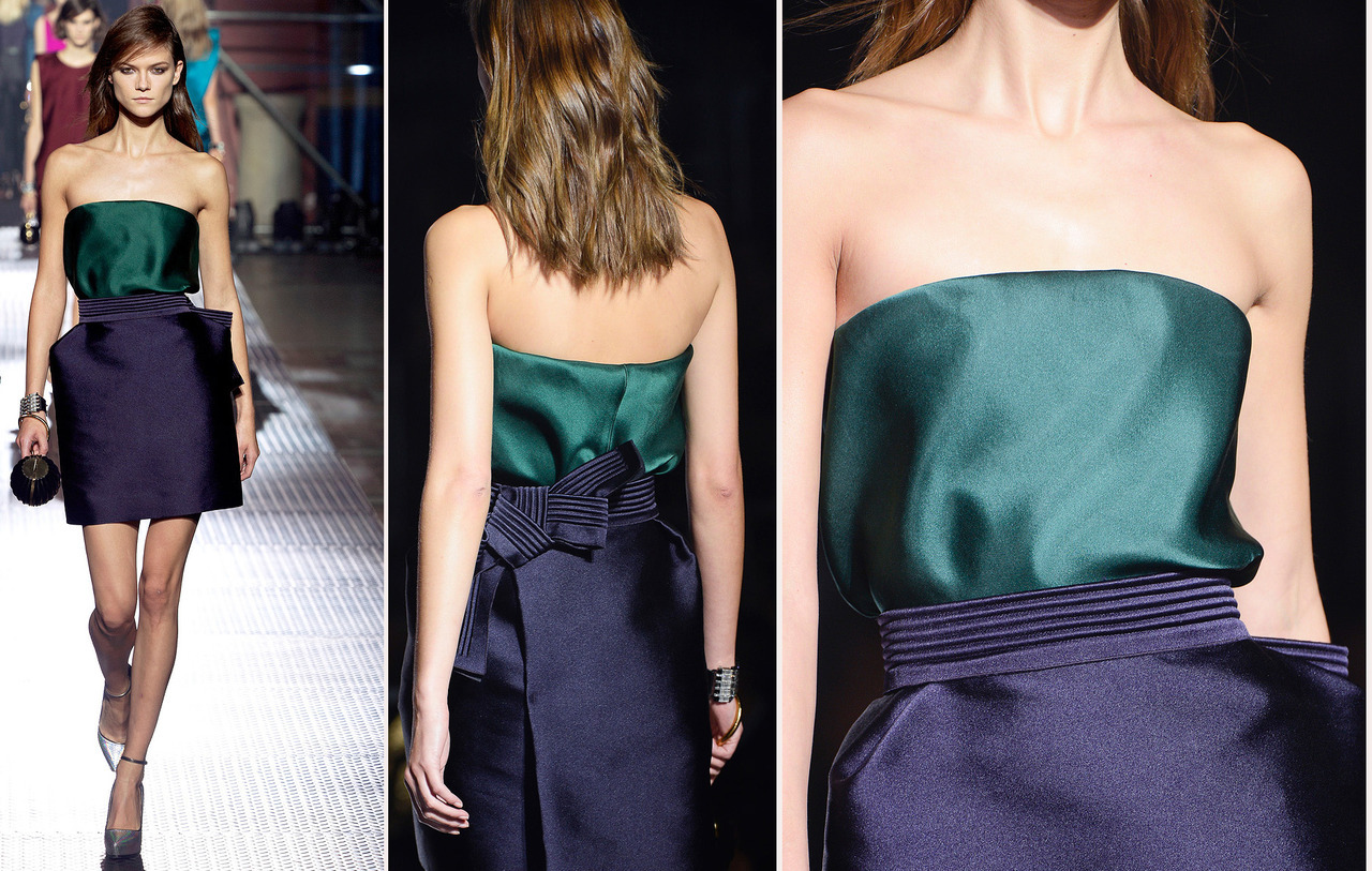 Alber Elbaz x Lanvin had me at detail shot of color-blocked duchesse satin cocktail look then … #PFW