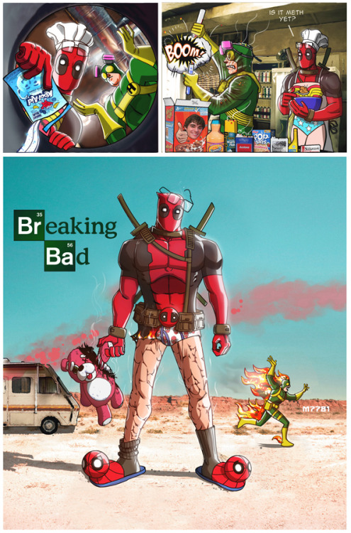 reruko:  breaking bad x deadpool by *m7781  Agent Bob.. bob everywhere <3