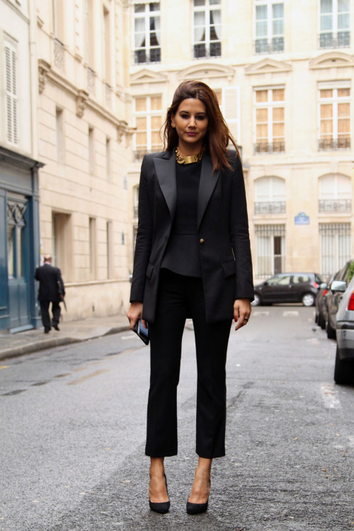 Christine Centenera in Balmain blazer, pants and shoes; Celine necklace [source: vogue]