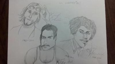 I drew this of some of my favourite musicians I actually got their signatures too.
