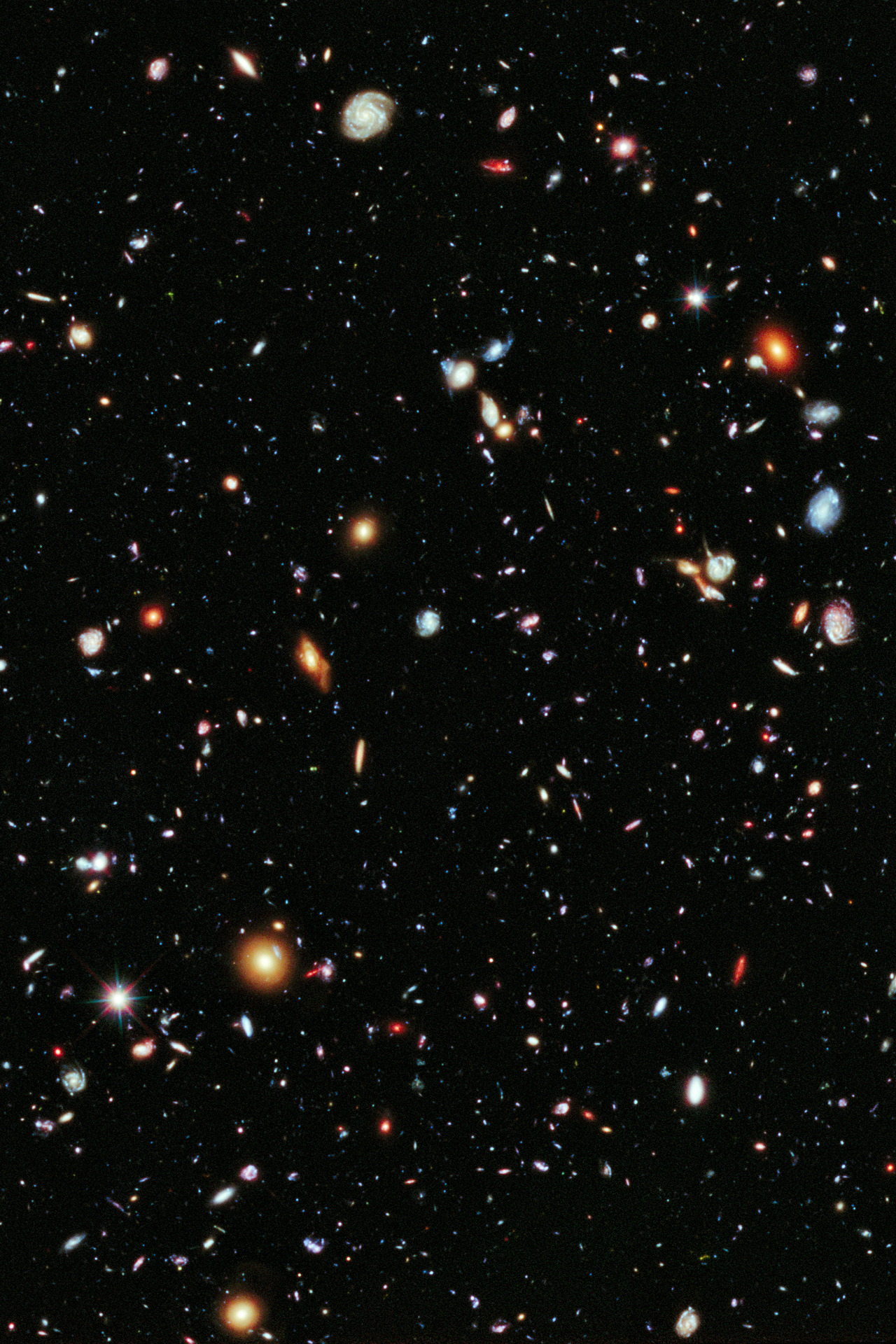 The Hubble Extreme Deep Field The Hubble Extreme Deep Field is most distant image of the Universe ever created.  Its diameter is one tenth the width of the full moon, its area is one 30 millionth of the entire sky.  Within this field of view there are more than 5000 galaxies, 600 trillion stars and 50 quadrillion planets and moons. The light from the most distant visible objects was created more than 13 billion years ago, when the Universe was only 5% of it's current age.  This photograph is a slice of infinity, proof of the immense scale of reality.