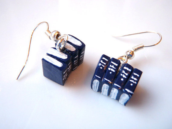 Blue Miniature Book Earrings by Coryographies