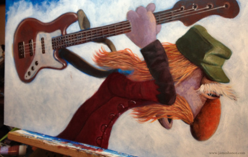 Latest Painting in Progress - 'Mr. Bass Man' Guitars… are… FIDDLY! x  My site / My Facebook