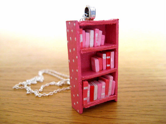 Pink Polka Dot Bookshelf Necklace by Coryographies