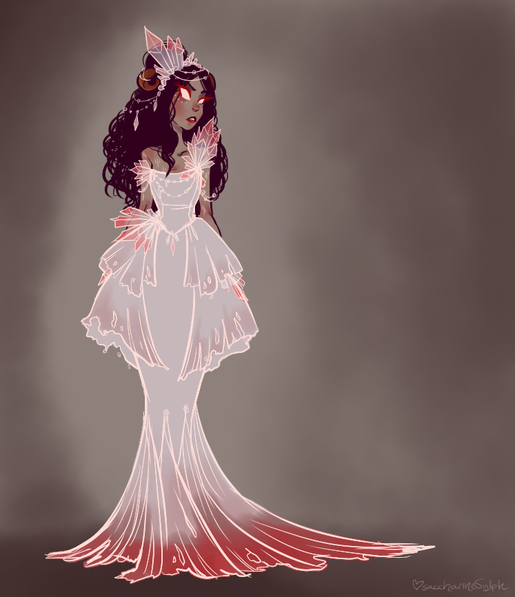 saccharinesylph:  Land Gown of Quartz and Melody. Quartz and Melody just sounded so pretty, I wanted to make a gown for Aradia for it. Color palette is referencing Aradiasprite, and the crystal/quartz patterns are heavily a nod to Thierry Mugler's Spring/Summer 2008 collection and the beadwork to Givenchy's Fall 2011 Couture Collection.