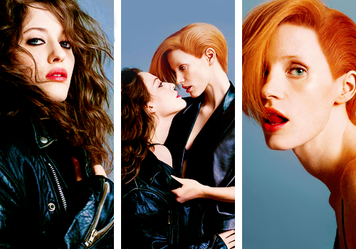 lmnpnch:  Kat Dennings & Jessica Chastain for W Magazine (September 2010)