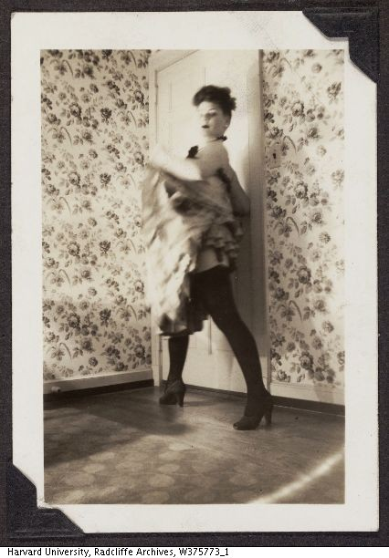 Anne Murray Morgan (Radcliffe '46) dressed as can-can dancer for Halloween.  (Radcliffe Archives)