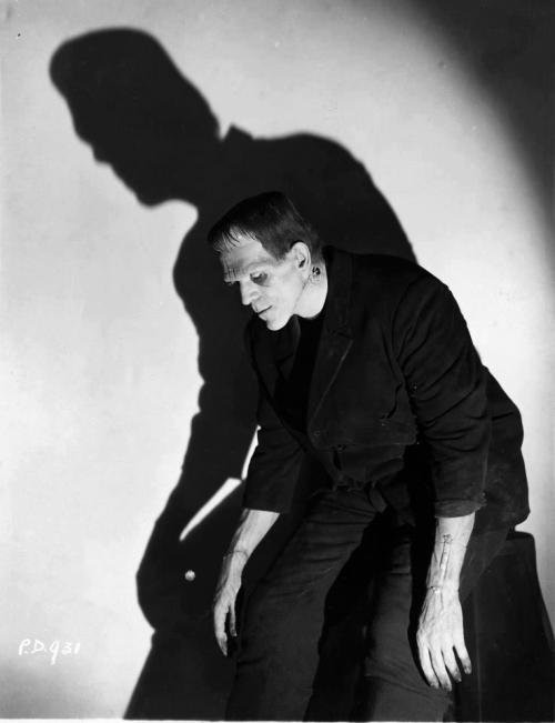 beautyandterrordance:  Boris Karloff, the Monster. The method of animating the creature is never discussed in Mary Shelley's novel. In the book, Frankenstein, narrating, refuses to divulge how he did it so no one can re-create his actions. However, the use of lightning to resurrect the monster has become the accepted methodology and appears in virtually every Frankenstein movie since. (via)