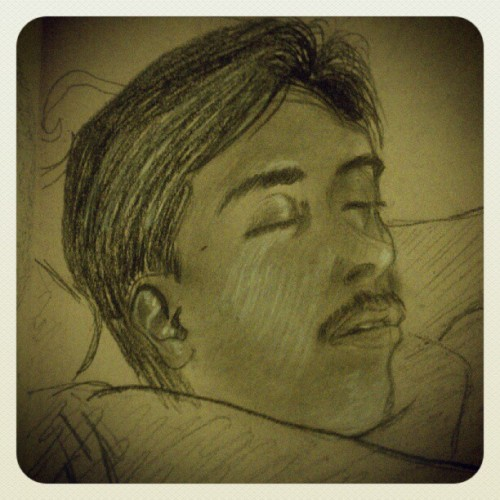 Study of my brother while sleeping. #charcoal (Taken with Instagram)