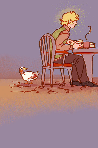 lastlabyrinth:  Sweater-vested man has no breadcrumbs today, yet duck waits patiently
