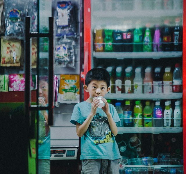 Midnight Snack on Flickr. This kid loves yogurt.
