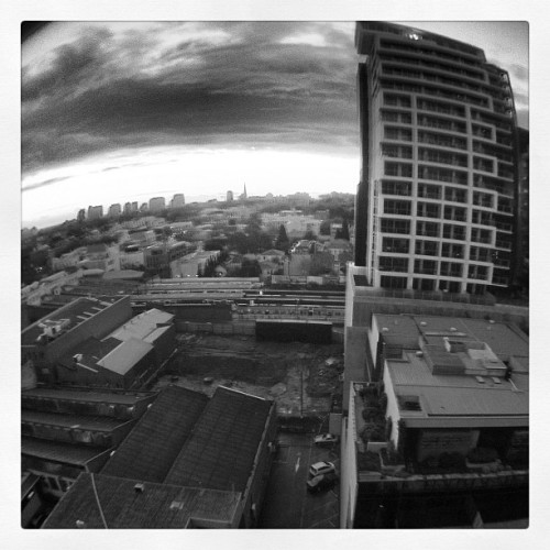 Melbourne Tonight.   #melbourne #olloclip #sunset #clouds #b&w #toorak #southyarra #prahran #trainstation #fisheye (Taken with Instagram)