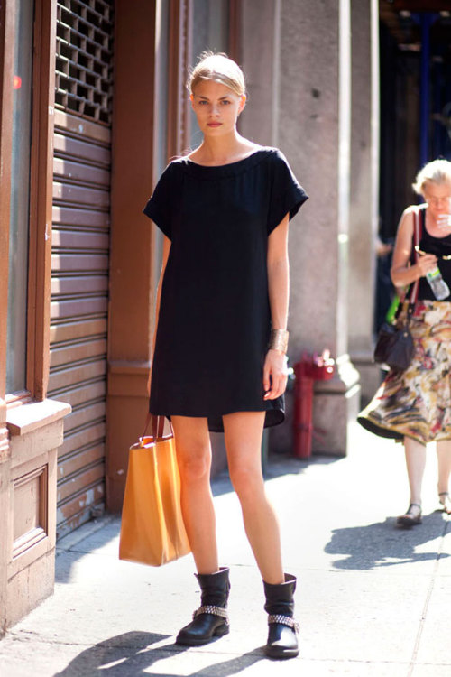 Franziska Frank Dress and bag, Zara. Shoes, Steve Madden.