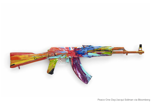 "AK-47 for Peace Damien Hirst, Antony Gormley, and Jake & Dinos Chapman are among two dozen artists that are producing art with an AK-47 for Peace One Day, the anti-war charity. If you're in London, don't miss the show at the ICA, up through September, 30, 2012. The artworks will then be auctioned at Phillips de Pury on October 4, 2012.  ""A lot of people say 'am I scared of glorifying the AK-47?' But I think the AK-47 is already glorified. I think the strongest message here is to show it can be used for something else visually and mentally,"" Bran Symondson, the former army reservist and brainchild of this project, told Reuters."