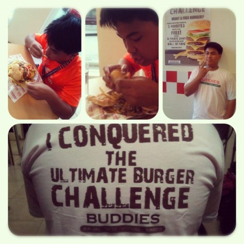 OWNED BITCHES!  my bro is a fvcking animal! Haha  #buddies #ultimateburgerchallenge #OWNED #instafood #igerscebu #badass  (Taken with Instagram)