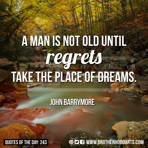 "[syahid] Quotes Of Day: 243: ""A man is not old until regrets take the place of dreams.""  - John Barrymore"