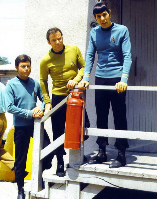 "wilwheaton:  silverspike:  Bones, Kirk and Spock.   The wind is all, ""I'LL GET YOUR TOUPEE SHATNER IF IT'S THE LAST THING I DOOOOOooOOOoooOOO!"""