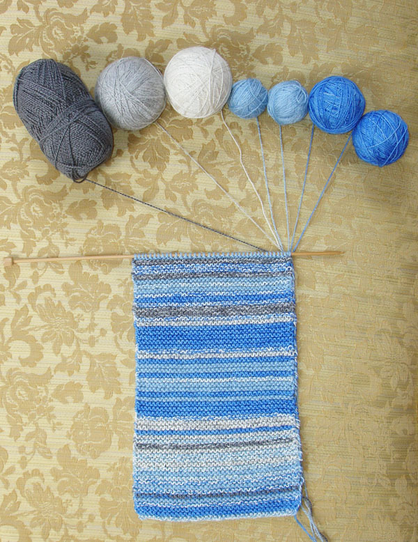 uncontrollablyspooky:  jandillmann:  Knit one row a day for a year, matching the yarn color to the color of the sky that day.  best idea.