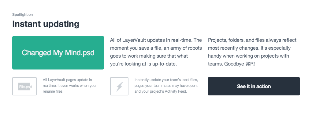 "Cool feature visualisation on layervault. They used their Typer.js to show how ""Instant updating"" works."