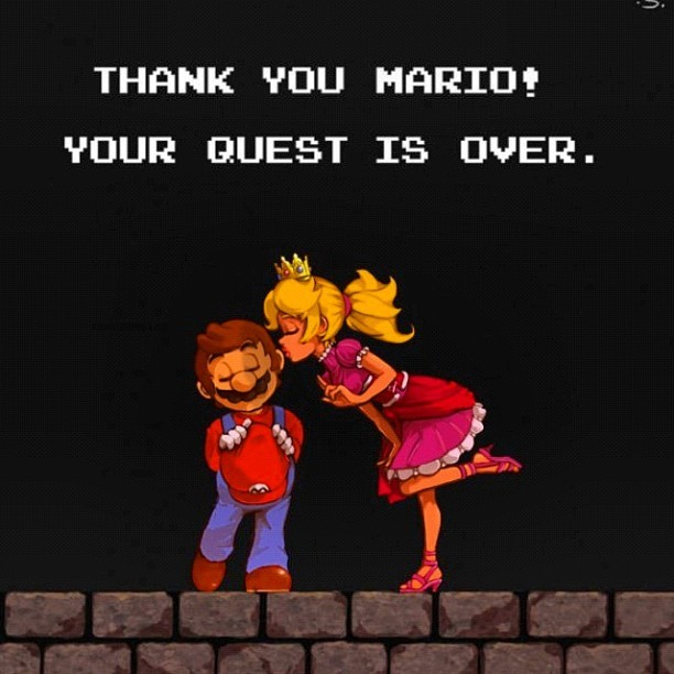 Thank you Mario! #vioniq #gaming #gamer #mario #princess #kisses #videogames #quest (Taken with Instagram)
