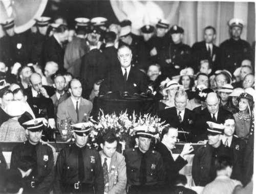 ourpresidents:  Franklin D. Roosevelt accepts the nomination for a second term as President at the Democratic National Convention in Philadelphia.  June 27, 1936.